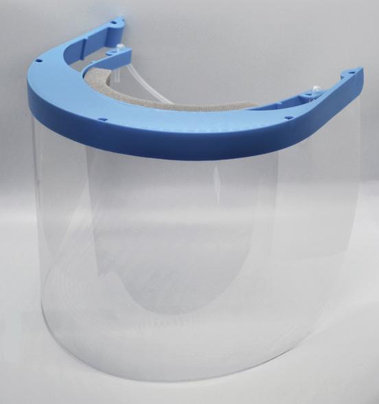 Gilero face shield with a blue headband.